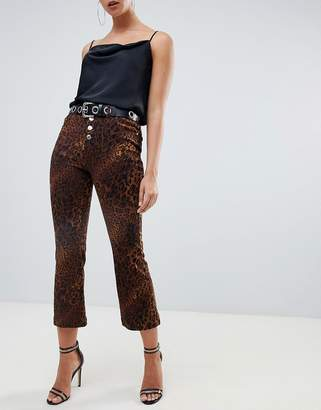 Missguided cropped kick flare jeans in leopard