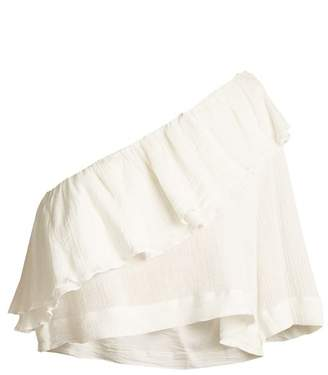 Apiece Apart Botanica One Shoulder Ruffled Cotton Top - Womens - Cream