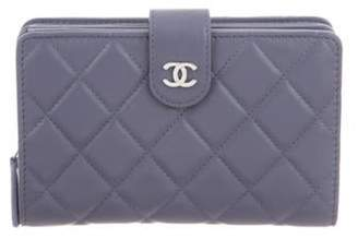 Chanel Quilted French Purse Wallet silver Quilted French Purse Wallet
