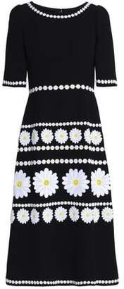 Dolce & Gabbana Floral-Appliquéd Wool-Crepe Midi Dress
