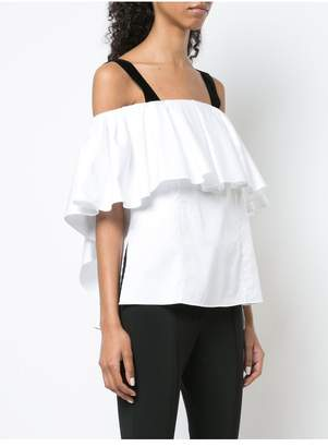 ADAM by Adam Lippes Cotton Poplin Off-The-Shoulder Top With Velvet Straps