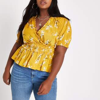 River Island Womens Plus Yellow floral shirred wrap top