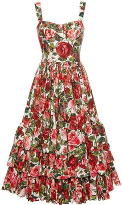 Dolce & Gabbana Rose Print Poplin Bustier Dress $2,995 thestylecure.com