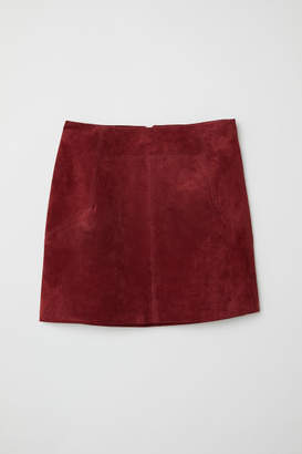 H&M Short Suede Skirt - Red
