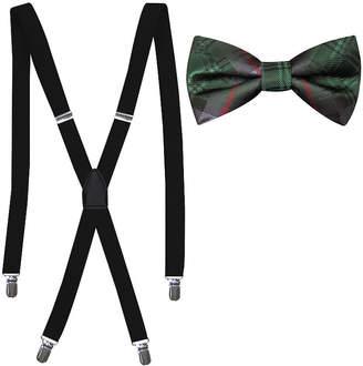 Jf J.Ferrar Jf Bowtie Suspender Sets Plaid Bow Tie Set