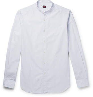 Piombo MP Massimo Grandad-Collar Striped Cotton Shirt