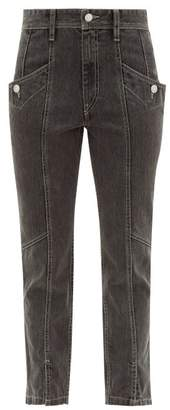 Etoile Isabel Marant Hotta Cropped Cotton Jeans - Womens - Black