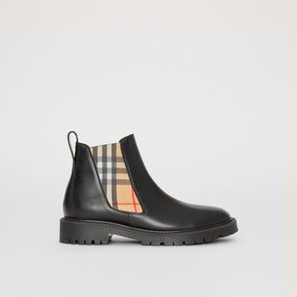 Burberry Vintage Check Detail Leather Chelsea Boots , Size: 36, Black