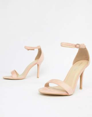 Glamorous Blush Barely There Heeled Sandal