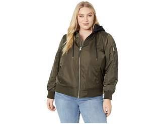 Levi's Plus Size Poly Satin Bomber w/ Fleece Hood