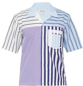 Maison Margiela Striped Short Sleeved Cotton Poplin Shirt - Mens - Multi