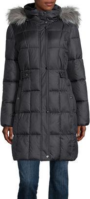 LIZ CLAIBORNE Liz Claiborne Sidetab Puffer with Fur Collar $99.99 thestylecure.com