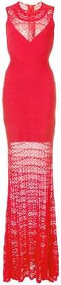 Herve Leger lace detail evening dress