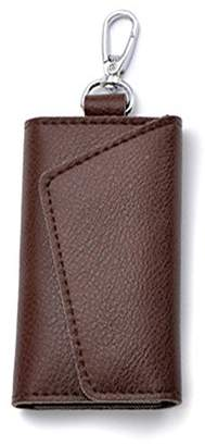 Paialco Genuine Cowhide Leather Keyring Case Holder Wallet Snap Closure Beveled -Coffee