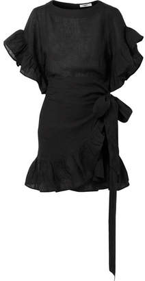 Etoile Isabel Marant Delicia Ruffled Linen Mini Dress - Black