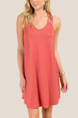 francesca's Keira Web Back Knit Shift Dress - Rose
