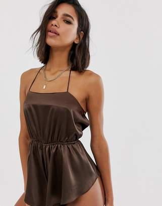Asos Design DESIGN satin romper with side splits