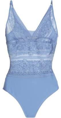 Stella McCartney Ophelia Whispering Lace And Stretch-Jersey Bodysuit