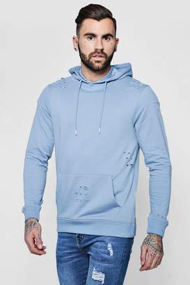 boohoo Over The Head Distressed Hoodie