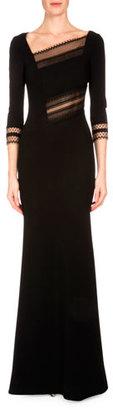 Roland Mouret Beaumont Lace-Inset Mermaid Gown, Black $4,775 thestylecure.com