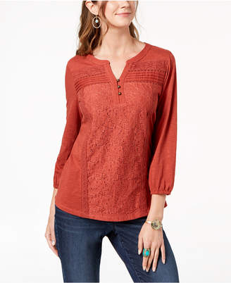 Style&Co. Style & Co Cotton Lace-Trim Top, Created for Macy's