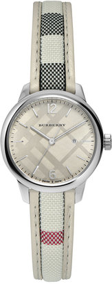 Burberry Women's Swiss The Classic Round Multi-Color Fabric Strap Timepiece 32mm BU10113 $545 thestylecure.com