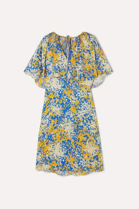 Stella McCartney Net Sustain Printed Cape-effect Crepe Midi Dress - Blue