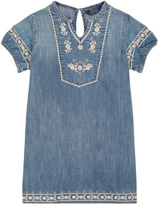 Polo Ralph Lauren Denim Floral Embroidered Dress