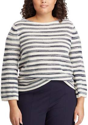 Chaps Plus Size Striped Boatneck Sweater