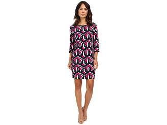 Laundry by Shelli Segal Lock Eyes 3/4 Sleeve Printed Matte Jersey Dress Women's Dress