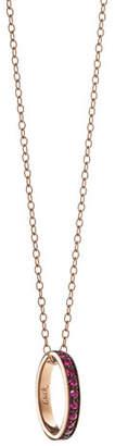 "Monica Rich Kosann 18K Ruby ""Luck"" Poesy Ring Pendant Necklace"
