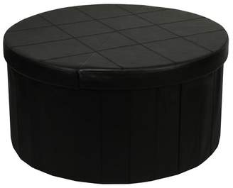 Otto & Ben 30 Inch Round Line Design Smart Lift Top Folding Storage Ottoman Bench Coffee Table with Faux Leather, Black
