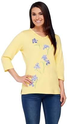 Factory Quacker Petal Party Ruffle V-neck 3/4 Sleeve T-shirt