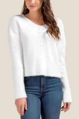 francesca's Rochelle Pointelle Eyelash Sweater - White