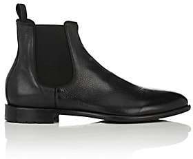 Barneys New York Men's Washed Leather Chelsea Boots-Black