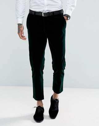 Gianni Feraud Skinny Fit Dark Green Velvet Cropped Suit Trousers