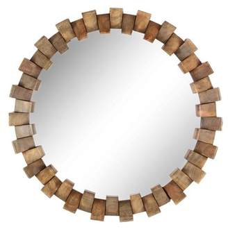 DecMode Decmode Eclectic 36 Inch Brown Mango Wood And Metal Brick Design Round Wall Mirror, Brown