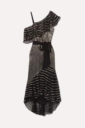 Temperley London Mosaico Off-the-shoulder Embellished Chiffon Midi Dress - Black