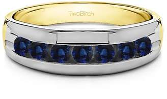 TwoBirch Sapphire Mounted in Sterling Silver Sapphire Sapphire Men's Ring with Open End Design(0.98crt)
