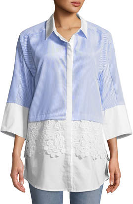 Neiman Marcus Lace-Trimmed Menswear Blouse