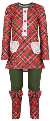 Mia Belle Girls Red & Green Placket Tunic with Contrast Cuff Leggings Set (Toddler, Little Girls, & Big Girls)