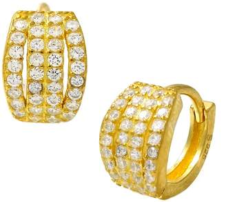 Savvy Cie 18K Yellow Gold Vermeil Micro Pave CZ Huggie Earrings