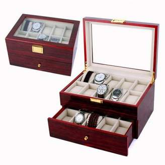 TurdyIsa 20 Slot Luxury Wood Watch Box Watch Display Organizer Case for Men/Women, Large Holder, Metal Buckle