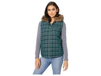 BB Dakota Power Cord Corduroy Plaid Vest with Fur-Lined Hood