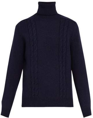 Gucci Gg Embroidered Wool Blend Roll Neck Sweater - Mens - Navy