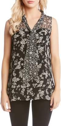 Karen Kane Print Contrast Tie Sleeveless Top
