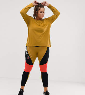 Nike Training Plus Training High Waist Colourblock Leggings In Gold And Pink