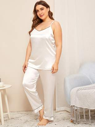 Shein Plus Contrast Trim Satin Pajama Set