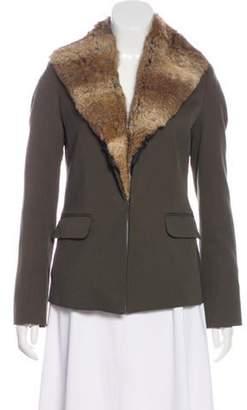 Elizabeth and James Fur-Trimmed Blazer Olive Fur-Trimmed Blazer