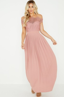 Little Mistress Gaby Apricot Lace Bardot Maxi Dress